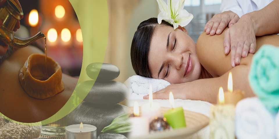 An Edited Image of a Women Experiencing Soothing Massage with a smiling face by a Professional Massage Therapists.