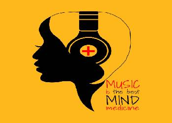 Edited Image of A Woman Hearing Music with the text Music is the Best Medicine For Mind