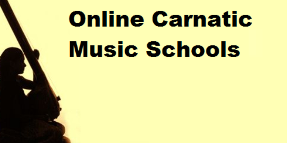 A Silhouette Female Musician Plays Veena In A Yellow Background With Text Online Carnatic Music Schools.