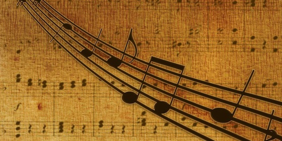Musical Notes In A Pale Yellow Background - Various Forms Of Music Concept.