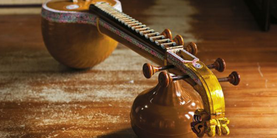 Goddess Of Indian Musical Instrument - Veena On Display.
