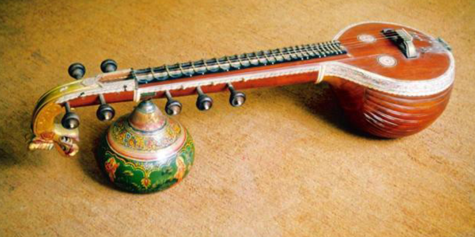 An Ancient Musical Instrument Veena On Display.