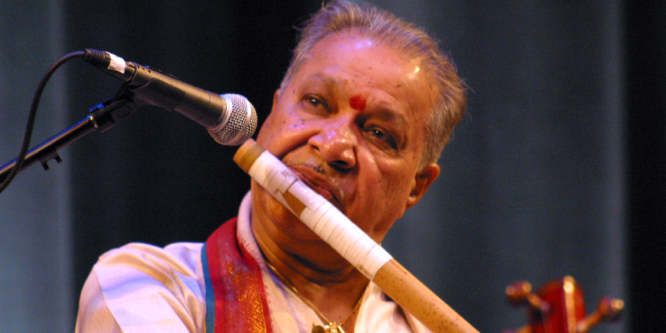 Renowned Indian Music Artist Playing Flute Instrument.