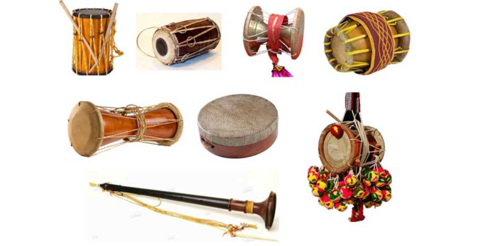 A Various Collection Of Indian Folk Music Instruments.