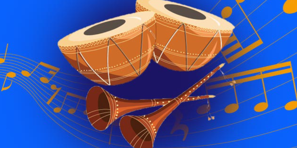 An Illustrated Image Of Indian Musical Instruments In A Blue Background.